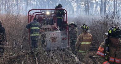 The Mastic Fire Department on the scene of the April 16 wildfire in Manorville | Manorville FD photo