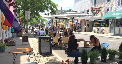 The easternmost block of Greenport's Front Street was closed to traffic the weekend of June 20 to allow more outdoor dining.