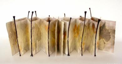 Anita Balkun, Rivoletto, 2019, Eco-printed paper, leaf stems, thread, with slipcase, 6.5 x 6.5 inches closed, 6.5 x 20 inches open.