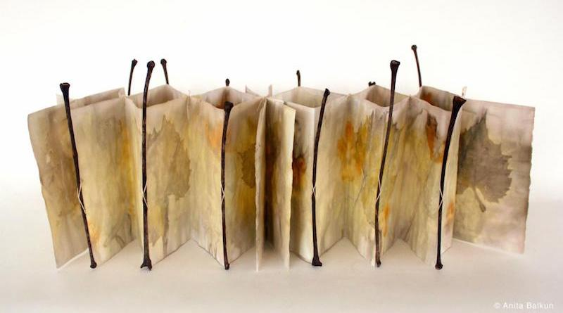Anita Balkun, Rivoletto, 2019, Eco-printed paper, leaf stems, thread, with slipcase, 6.5 x 6.5 inches closed, 6.5 x 20 inches open.