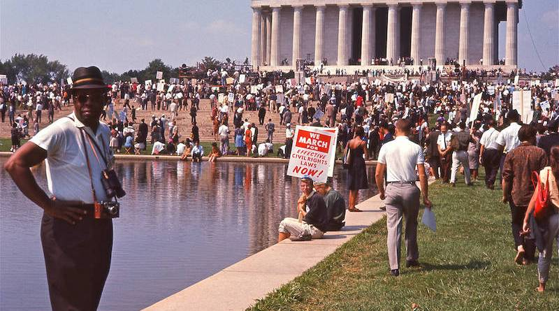 Crowd gathering at the Lincoln Memorial for the March on Washington in I AM NOT YOUR NEGRO, a Magnolia Pictures release
