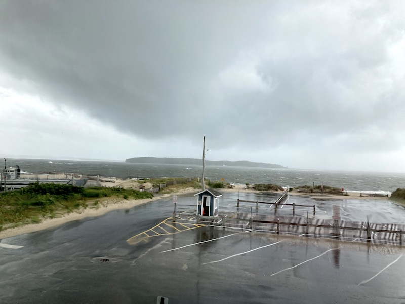 The storm believed to be capable of producing a tornado over Robins Island in the Peconic Bay at 2:12 p.m.