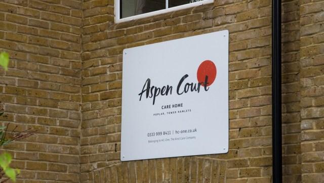 Sign exterior of Aspen Court