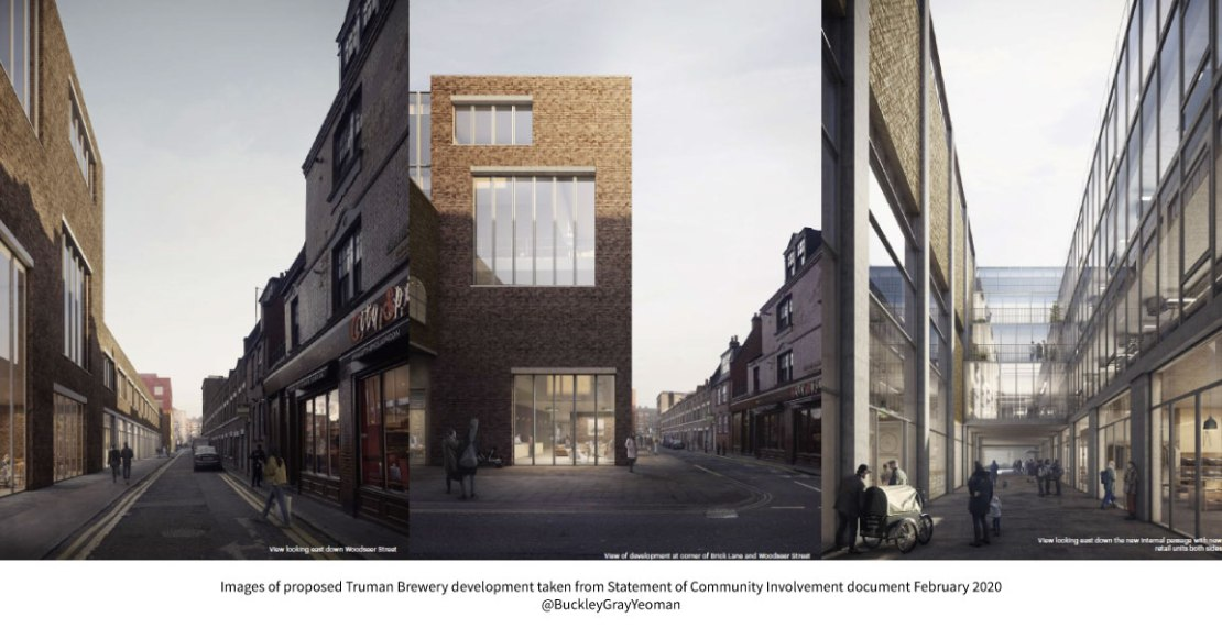 Artists impressions of proposed Truman Brewery development