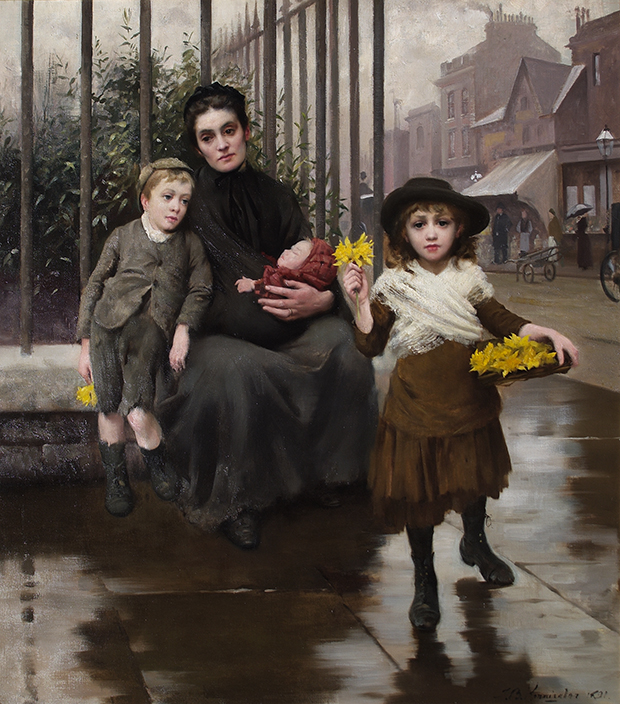 The Pinch of Poverty by Thomas Benjamin Kennington 1891. Credit: The Foundling Museum