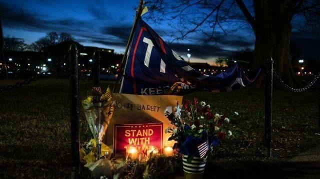 Ashley Babbitt's humble memorial outside the Capitol in Washington.