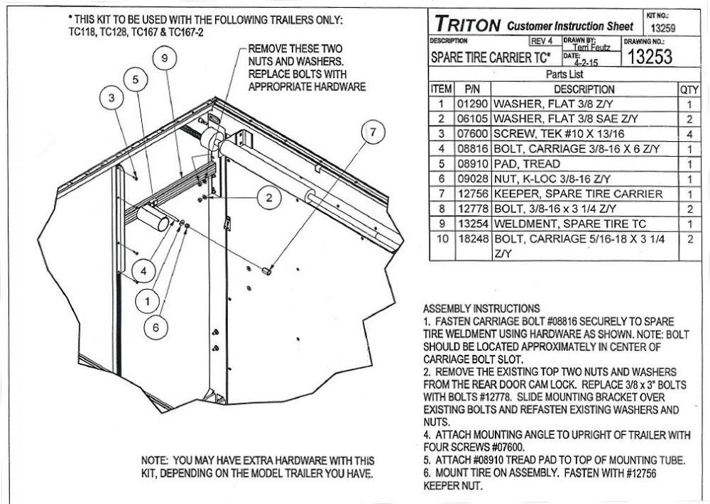 triton spare tire rack 13259