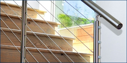 Stainless Steel Cable Railing Handrail Extrusions Our Products   Steel Cable Stair Railing   Diy   White   Balcony   Steel Wire   Industrial