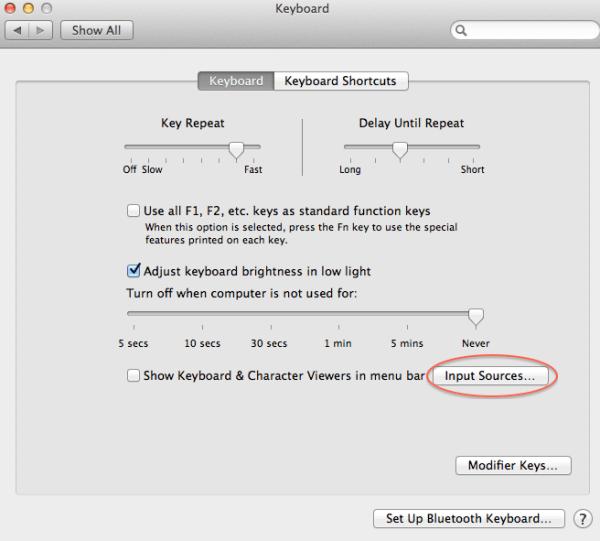 keyboard settings