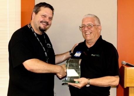 Wade presents award to Steve Swain