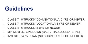 Commercial truck financing guidelines