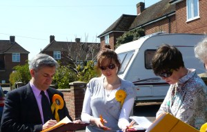 Huhne campaigning at the Aviary 2010