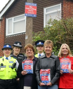 PCSO Tracey Chilcott, PC Angie Whitmarsh, Town Councillor Valerie Houghton, PCSO Dan Selby, local resident Geraldine Luscombe and Annette Macnamara from Eastleigh Borough Council.