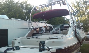 Stolen powerboat red and white Regal Halo