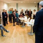 Chris Huhne addresses Climate Chage short story writers at th point Eastleigh
