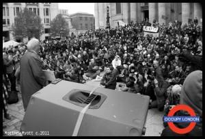 CND veteran Bruce Kent addresses the camp