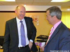 Simeon Field manager Churchill's Easlteigh with Nigel Farage