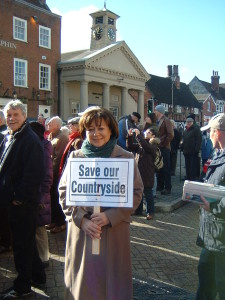 Maria Hutchings art the Botley protest.