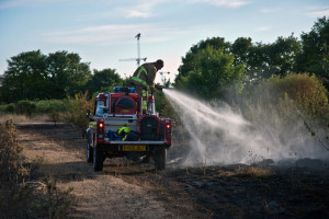 Fire Crews tackle blaze on Peartree Common. Photo: Hampshire Fire & Rescue Services