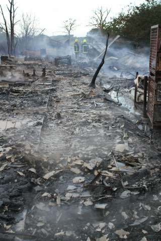 Aftermath of fire at chicken sheds at Botley