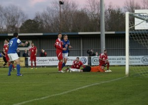 Jamie Collins celebrates Eastleigh's equaliser