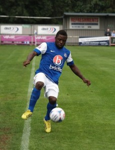 Yemi Odubade provided a consolation goal for Eastleigh on a night to forget (Photo by Tony Smith)