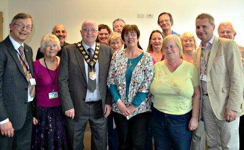 Cathie Fraser (centre) with Mayor Cllr Malcolm Cross and fellow Eastleigh Councillors