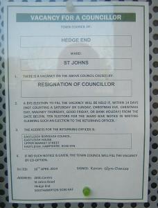 Co-option notice for Hedge End St Johns