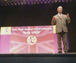 Nigel Farage inspires the audience, at the UKIP S.E. launch event in Portsmouth. Photo: Jim Saunders UKIP