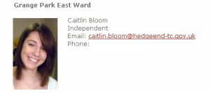 Former Hedge End Town Cllr, Caitlin Bloom, who was listed as an 'Independent' on the HETC website.