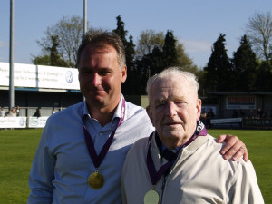 A very proud Stewart Donald (left) with club founder Derik Brooks after winning the league
