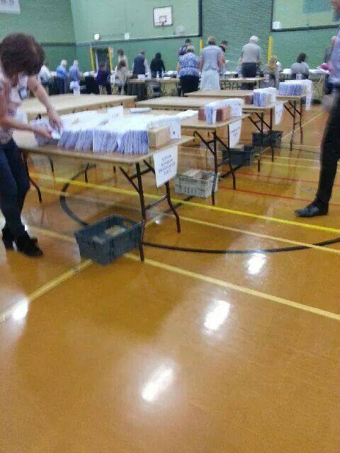 EU Ballot papers being counted in Eastleigh.