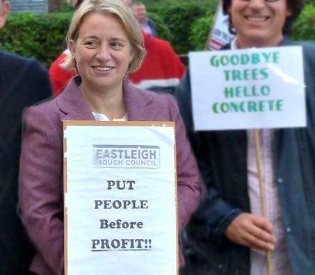 Green leader Natalie Bennett at Stoneham Park protest 2012