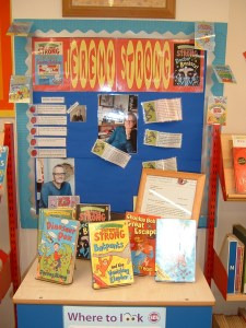 Display in Freegrounds Junior School LIbrary