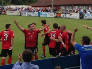 Stanley celebrates Eastleigh's second of the game at Nuneaton