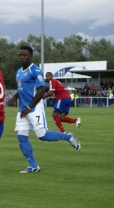 Yemi Odubade sends Eastleigh through to the next round of the Hampshire Cup (photo by Tony Smith)