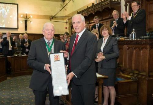 Alderman Colin Davidovitz (L) with Cllr Roy Perry