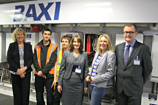 Mims Davies, College Principle Jan Edrich and Jeff House of Baxi with students. Pic courtesy: Baxi