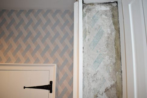 Close up of shutter box fragments in Austen Family Room