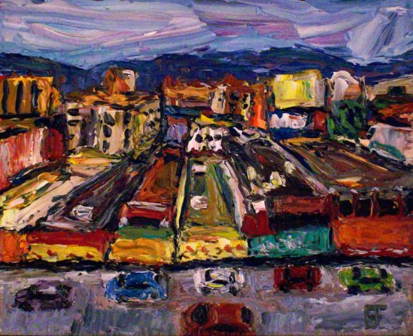 Vancouver Chinatown oil on wood