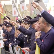 Firefighters lobby the London Fire Brigade headquarters Photo: Workers Revolutionary Party