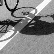 Shadow of a cyclist