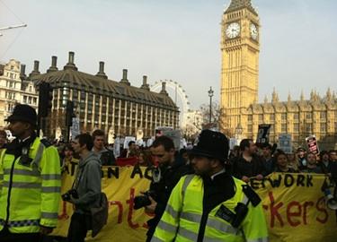 Police in front of protestors Pic: Jo Abbas