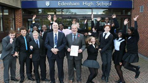 Pupils celebrate at Edenham High Pic: Croydon Council