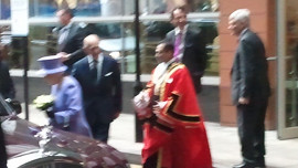 The Queen exits the hospital. Pic: Chris Dillon
