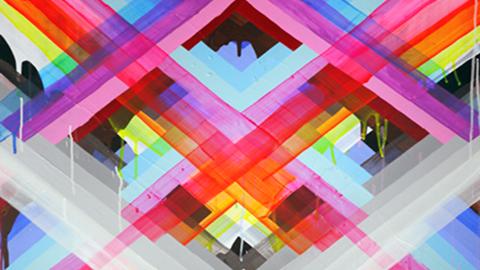 Maya Hayuk 'Rainbow Madras X's'. Pic: Stolen Space Gallery