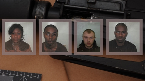 Tejan-Rahman, Skyers, Rooney, and Jones convicted of conspiracy to possess firearms and Class A drugs. Images: Met Police