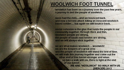 """Woolwich Community message """"We are Woolwich so walk with us!"""" Pic: Woolwich Community Facebook"""