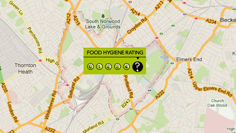 FSA Food Hygiene Rating Map:Google
