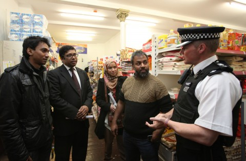 Borough Commander Dave Stringer speaks to residents at the Bromley By Bow ward walkabout